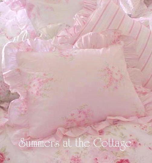 Rachel Ashwell Shabby Chic Pink Corsage Duvet Ruffled Euro Shams
